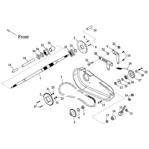 Rear Wheel Axle, Chain (Adly GK-125 2009)