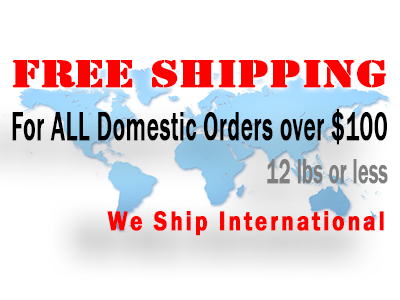 Free Shipping for All Domestic Orders over $100 (less than 12lb)